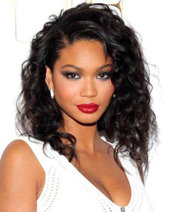chanel iman with long dark curly hair