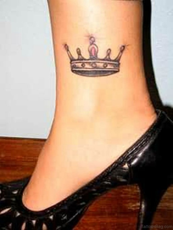 crown tattoo on ankle