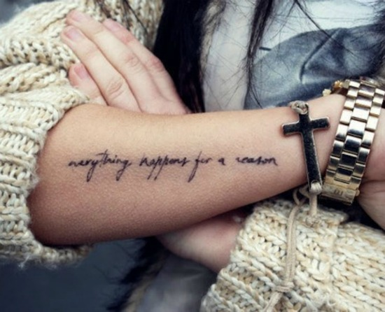 everything happens for a reason tattoo arm