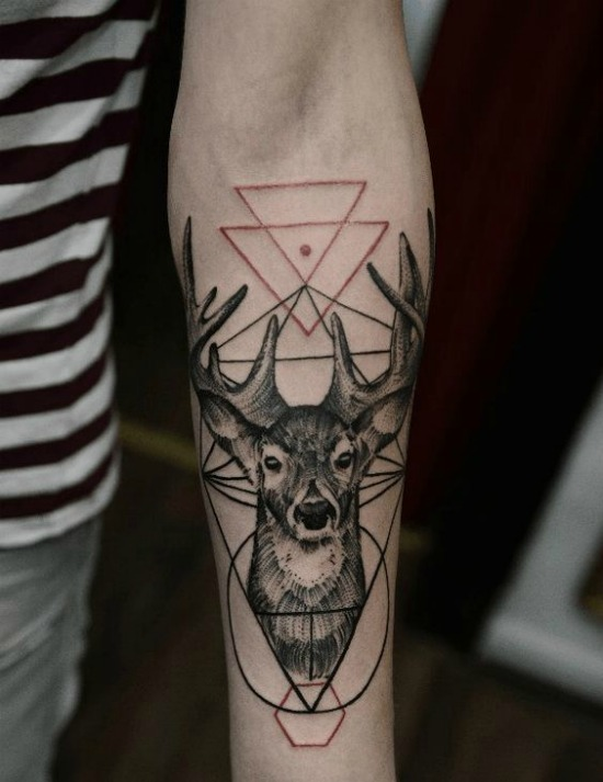 geometric deer tattoo on Arm