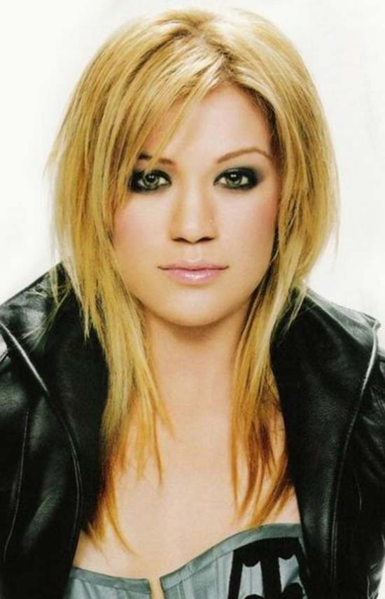 kelly clarkson Long Hairstyles For Round Faces