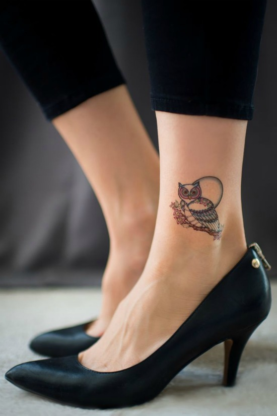 owl tattoo on ankle