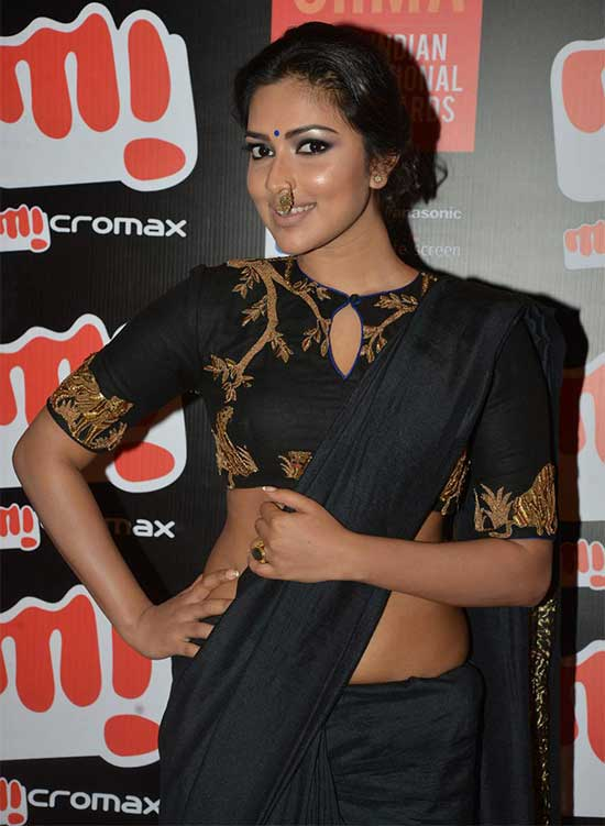 Amala Paul In Black Georgette Saree With Embroidery Blouse