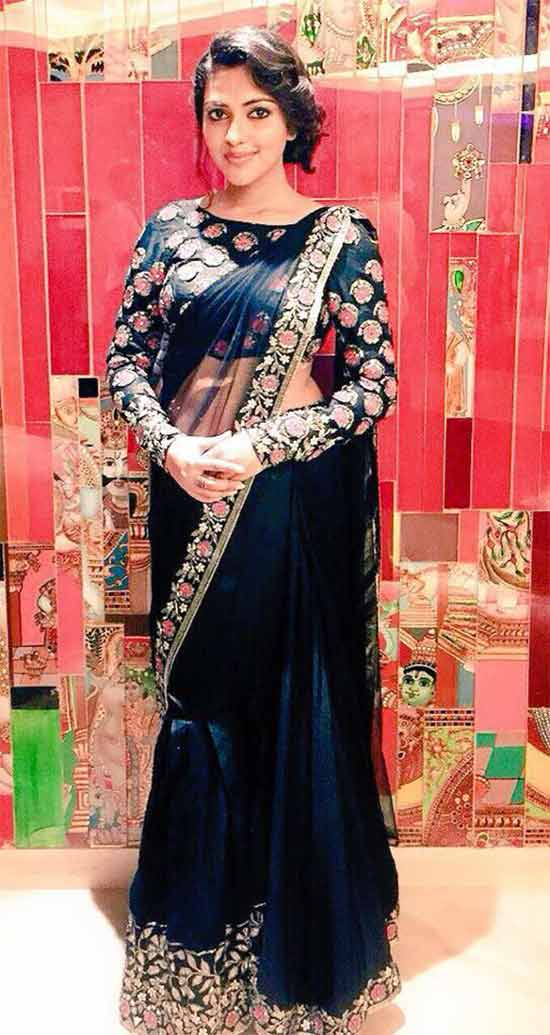 Amala Paul In Black Net Saree With Boat Neck Blouse