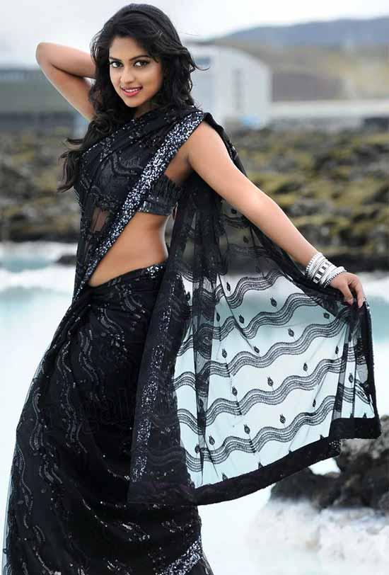 Amala Paul In Black Net Saree