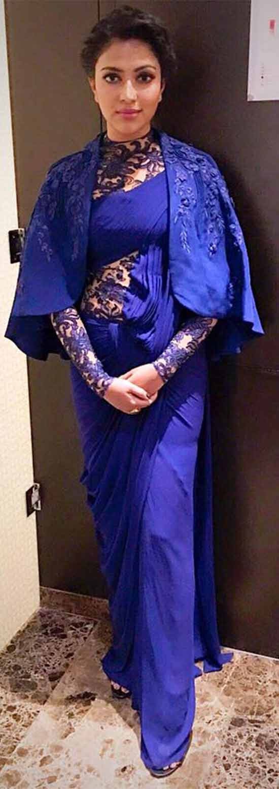 Amala Paul In Blue Color Saree Gown
