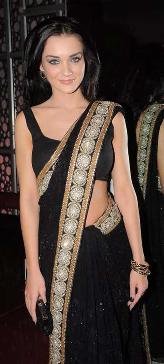 Amy Jackson In Black Sequins Saree With Border