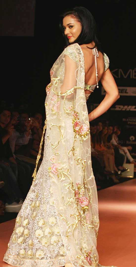 Amy Jackson In Cream Color Lehenga Style Saree For Partywear Back
