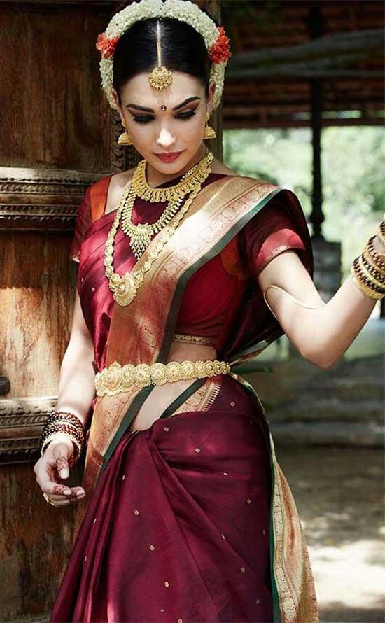 my Jackson In Maroon Color Traditional Pattu Saree