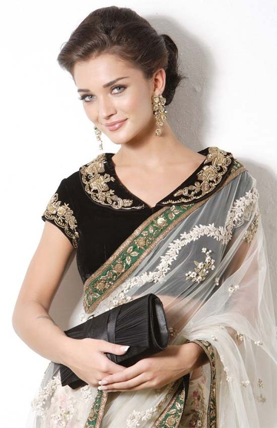Amy Jackson In White Embroidery Net Saree