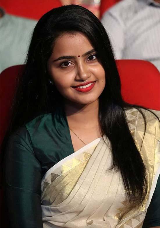 Anupama parameswaran In Cream Color Saree