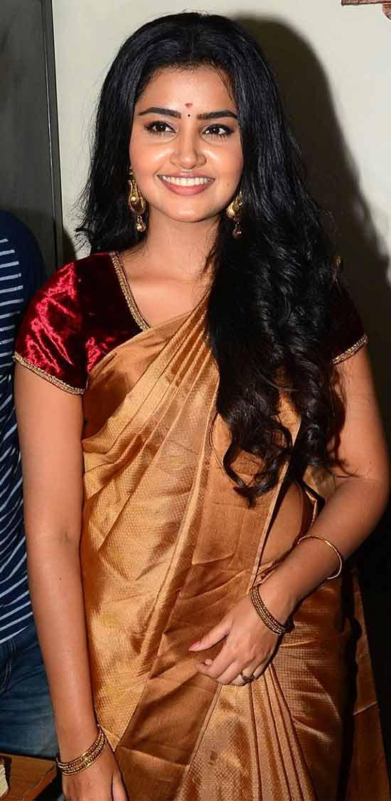 Anupama parameswaran In Gold Saree