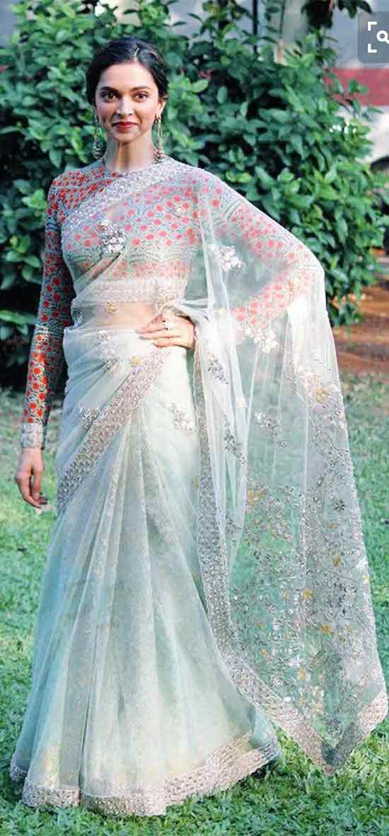 Deepika-Padukone-In-Embroidered-Mint-Sheer-Saree