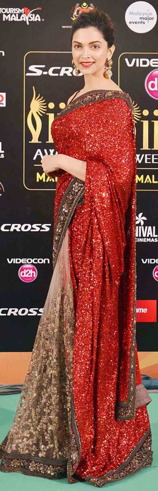 Deepika-Padukone-Lycra-Slik-And-Net-Sequins-Work-Red-Bollywood-Style-Saree