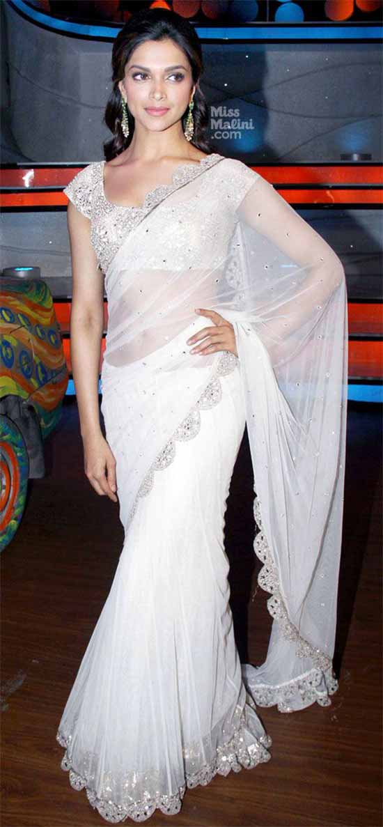Deepika-Padukone-White-Net-Saree-With-Embellished-Silver-Border