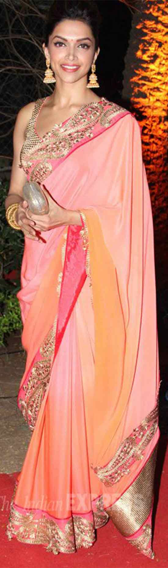 Deepika-Style-Peach-Color-Bollywood-Replica-Sarees