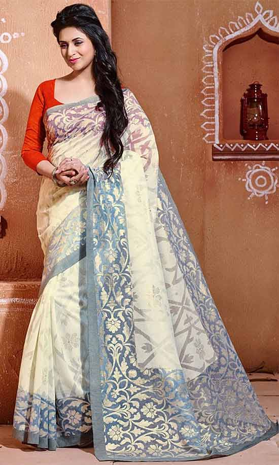 Divyanka-Tripathi-In-Casual-Grey-and-Off-White-Art-Silk-Trendy-Printed-Saree