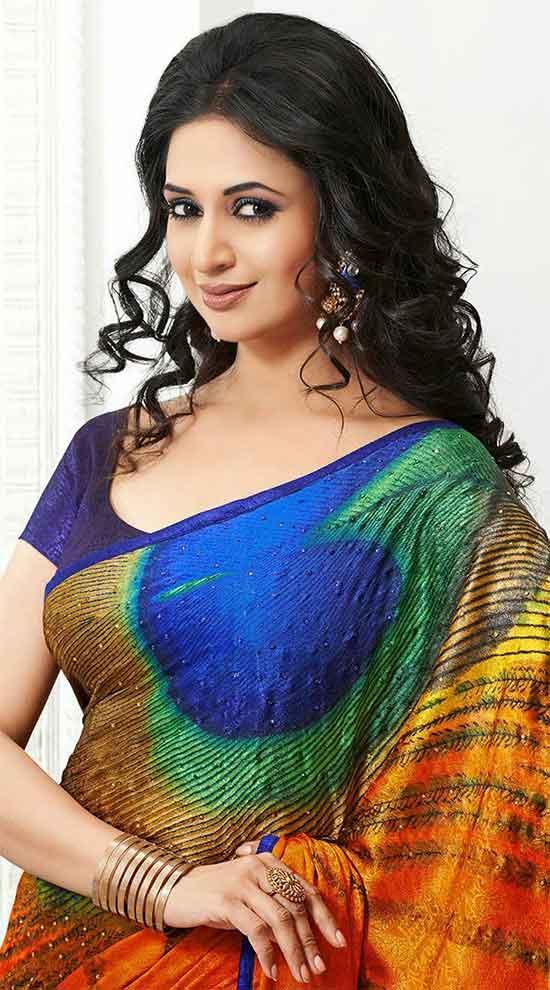 Divyanka-Tripathi-In-Multi-Color-Silk-Sares