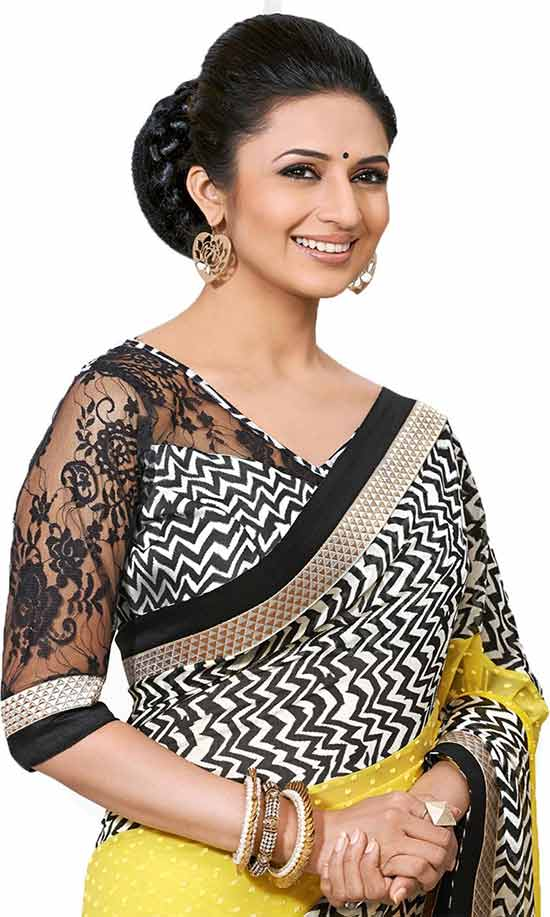 Divyanka-Tripathi-In-ZigZag-Style-Prints-Yellow-Poly-Georgette-Casual-Saree