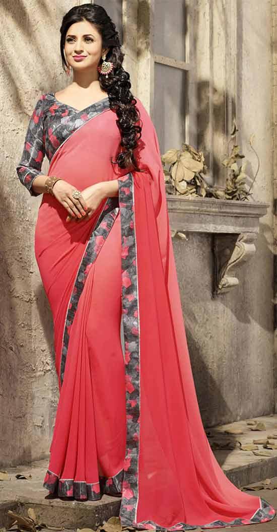 Divyanka-Tripathi-Red-Plain-Floral-Border-Designer-Saree
