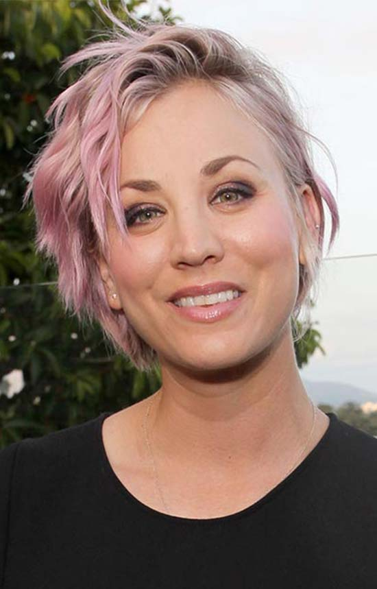 Kaley Cuoco colored hairstyle