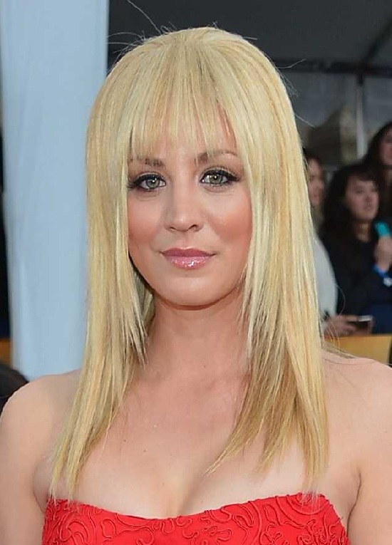 Kaley Cuoco Shoulder Length Hair with Bangs
