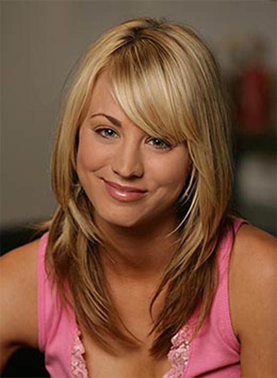 Kaley Cuoco bangs and layers Haircut