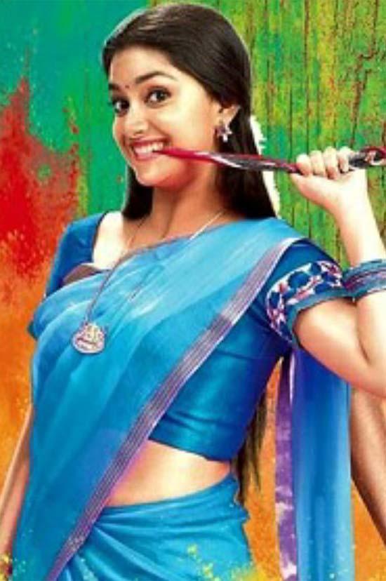 Keerthi-Suresh-In-Blue-Half-Saree