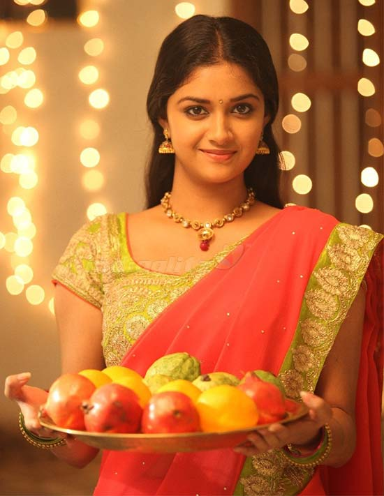 Keerthi-Suresh-In-Orange-Half-Saree