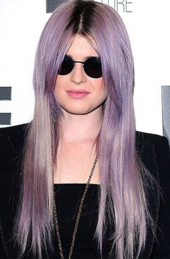 Kelly Osbourne Straight Haircut with Center Parted