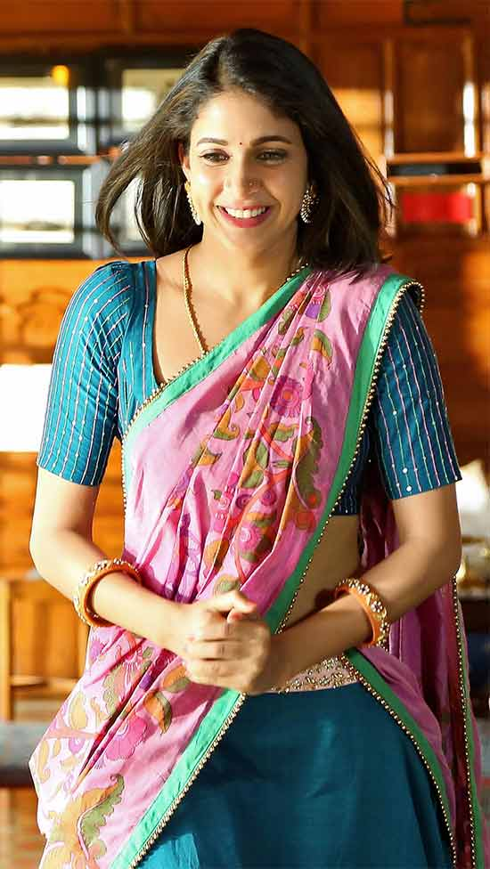 Lavanya-Tripathi-In-Chinese-Blue-And-Pink-Half-Saree