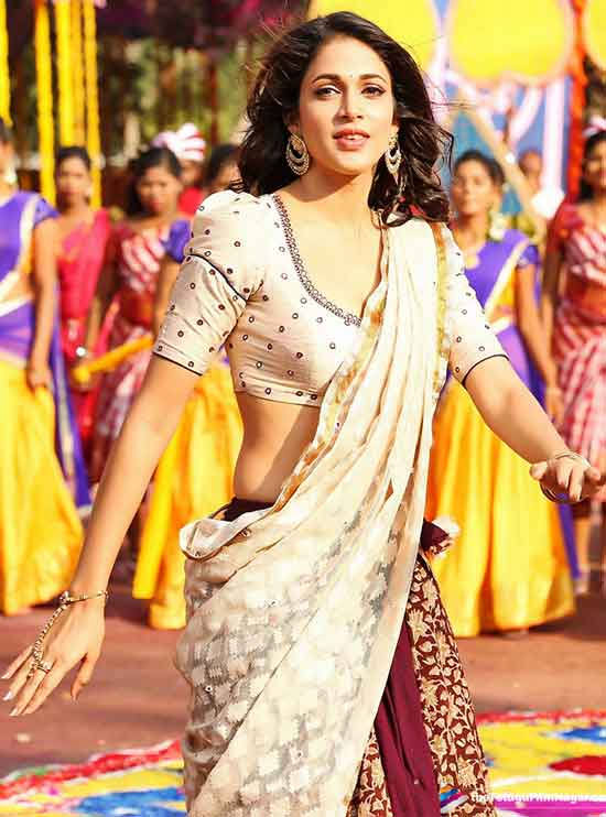 Lavanya-Tripathi-In-Cream-And-Maroon-Half-Saree