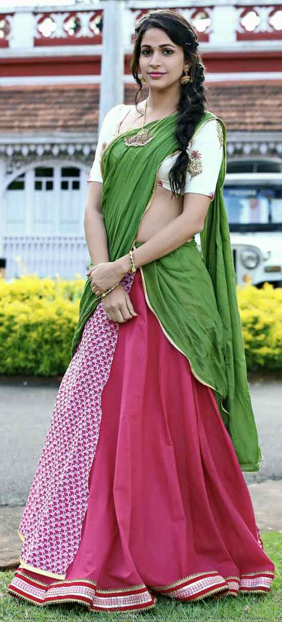 Lavanya-Tripathi-In-Green-And-Pink-Half-Saree