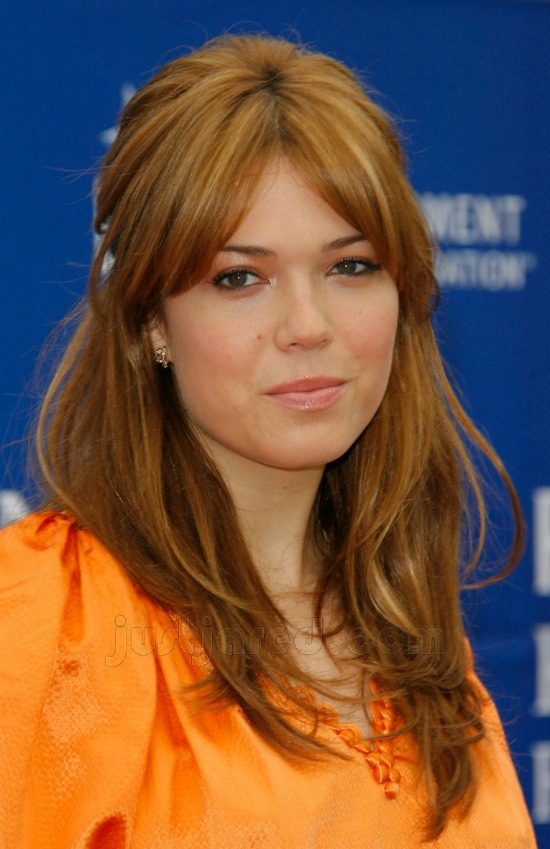 Mandy Moore Long layered Hairstyle with Front Bangs