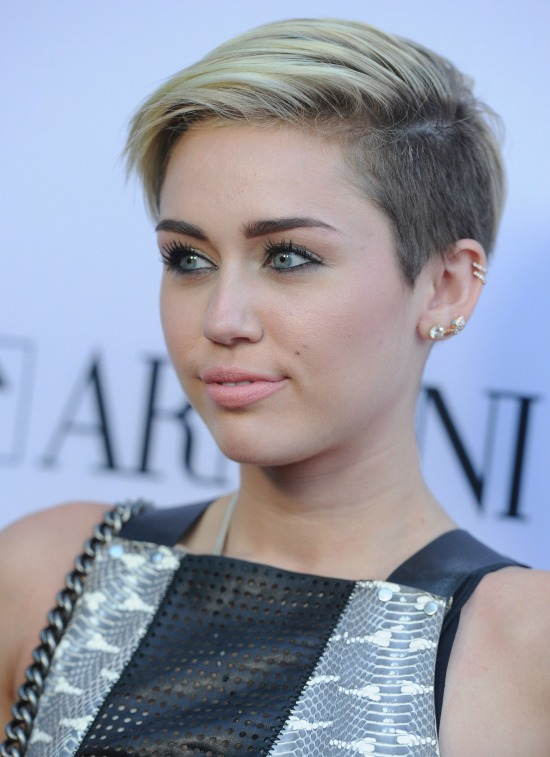 Miley Cyrus Deep Side Parted Short Pixie Cut