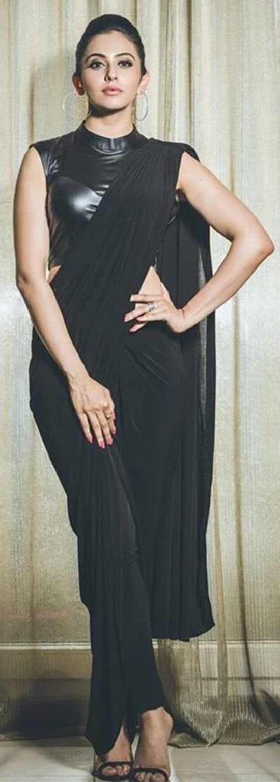 Rakul Preet-Singh Black Saree Gown