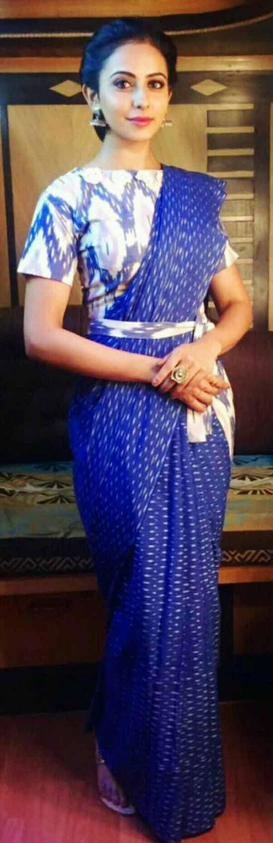 Rakul Preet Singh Blue Printed Saree