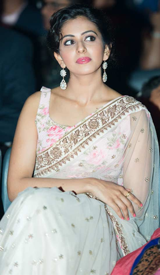 Rakul Preeth Singh White Net Saree With Sequins Work