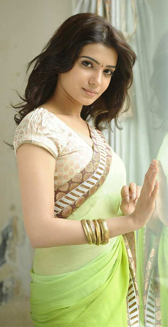 Samantha-In-Green-Color-Chiffon-Saree