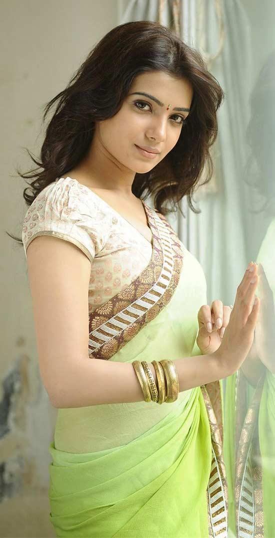 Samantha-In-Green-Color-Chiffon-Saree