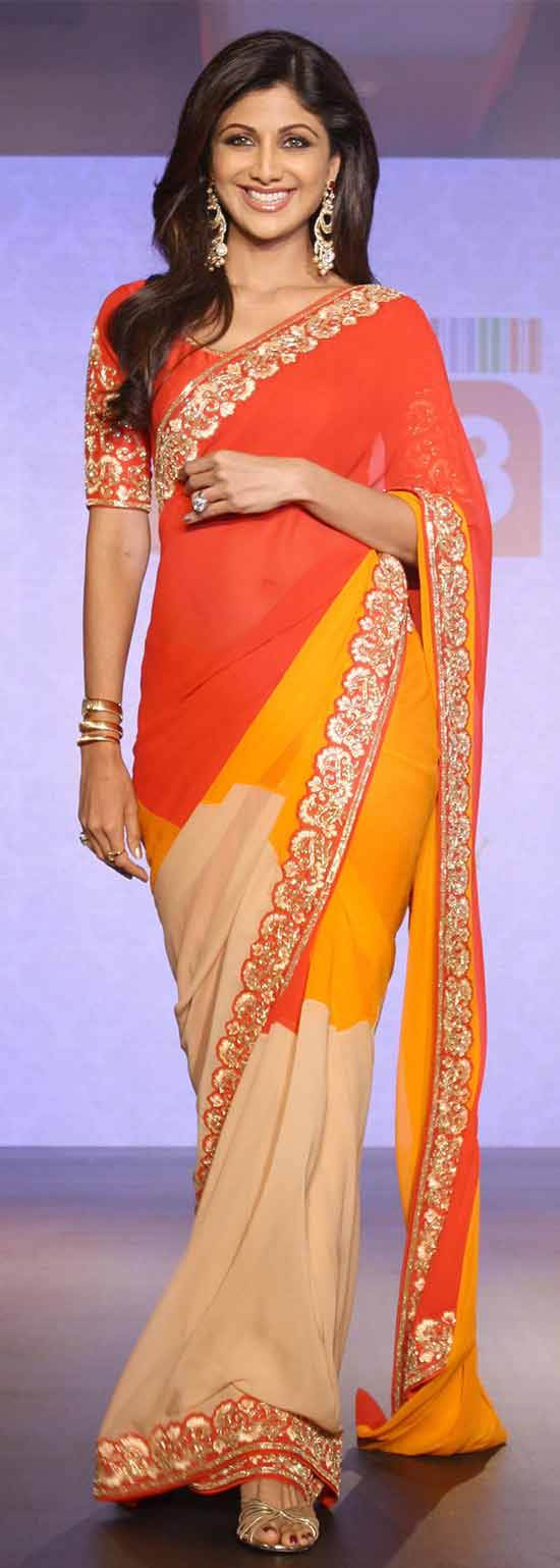 Shilpa Shetty In Tri Color Replica Shaded Embroidery Saree