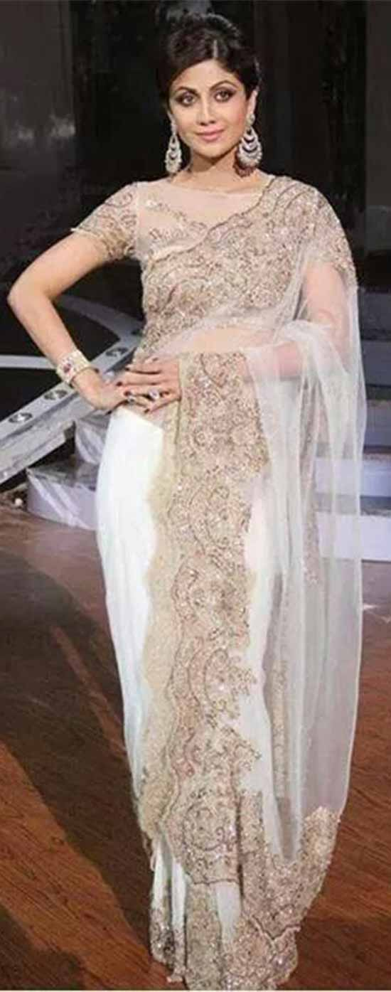 Shilpa-Shetty-In-White-color-hand-embroidery-work-net-fabric-saree