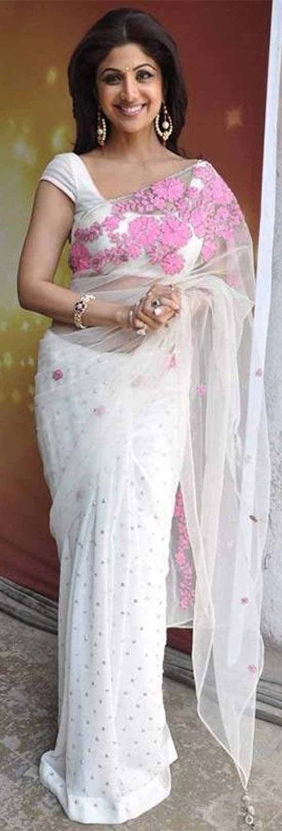 Shilpa-Shetty-White-Net-with-Pink-Work-Replica-Saree-Fabric
