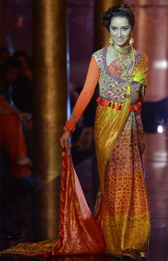 Shraddha Kapoor Designer Multicolor Bridal Saree