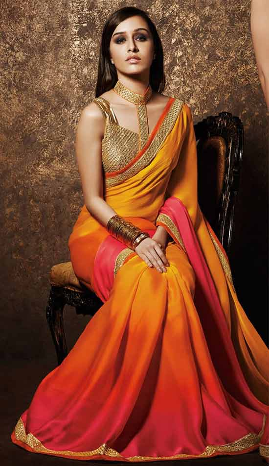 Shraddha Kapoor In Orange and pink shaded saree with golden blouse