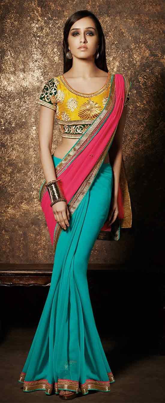 Shraddha Kapoor In Turquoise Pink half and half designer saree