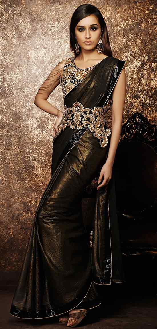Shraddha Kapoor Shimmer Coffee Designer Party Wear Saree