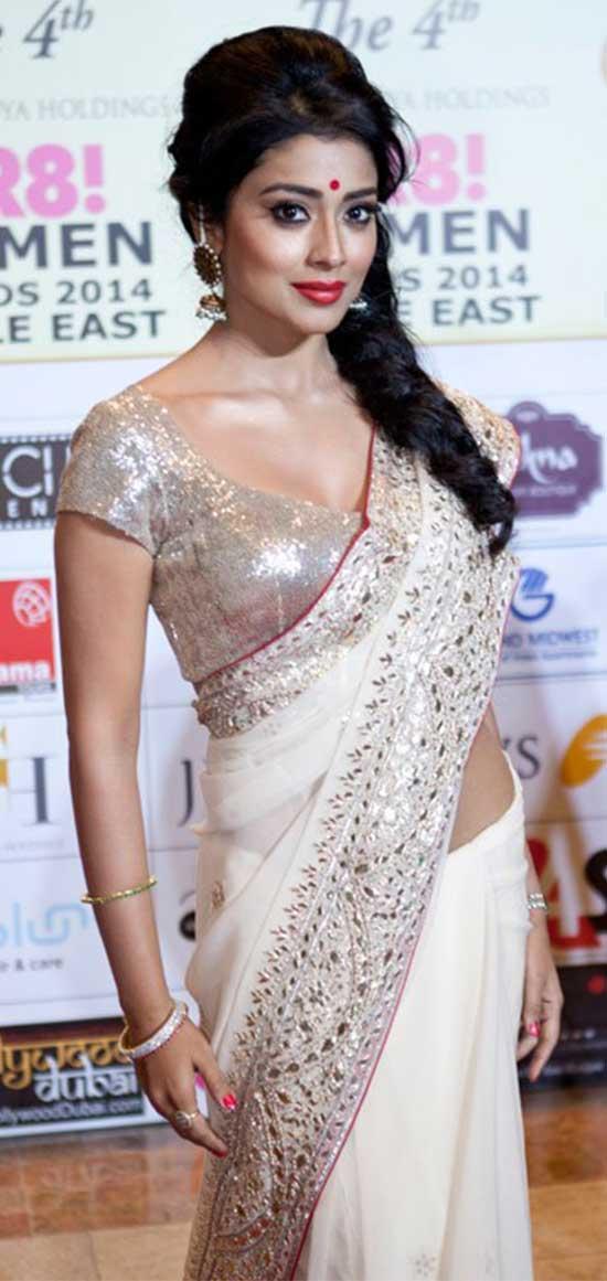 Shriya-Saran-In-Cream-Designer-Saree
