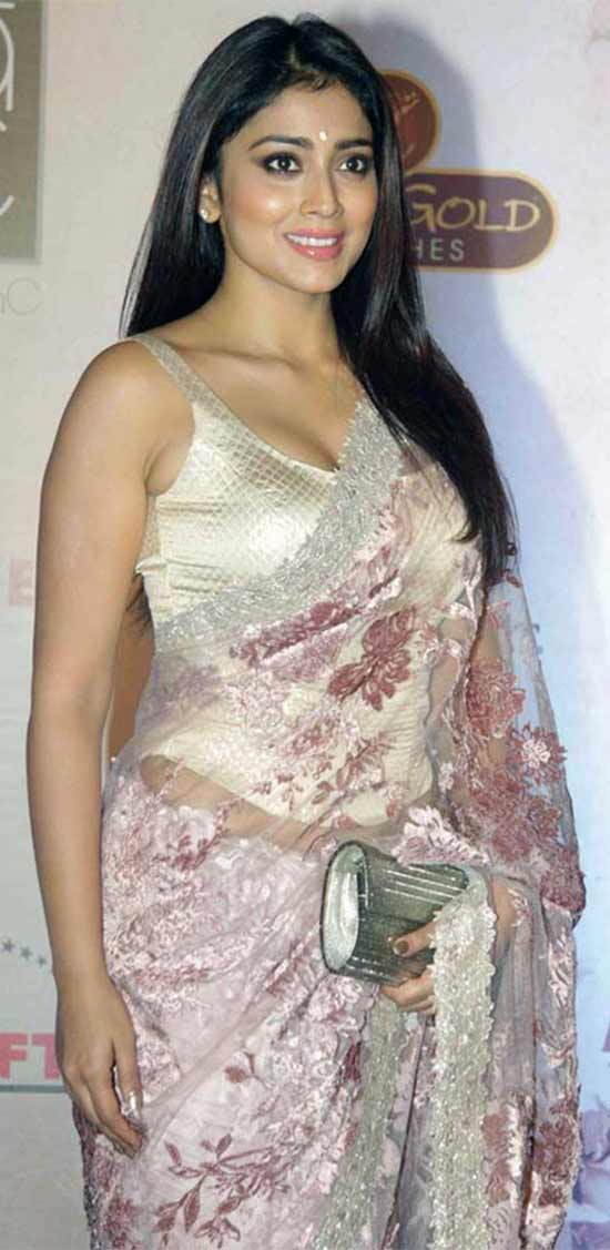 Shriya-Saran-In-Floral-Net-Saree