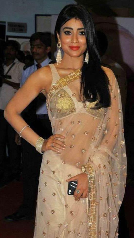 Shriya-Saran-In-Gold-Transparent-Saree